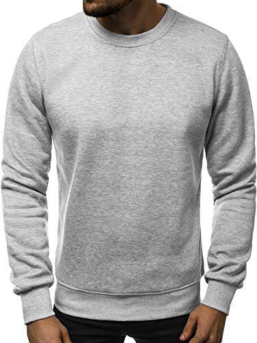 OZONEE Herren Sweatshirt Pullover Langarm Farbvarianten Langarmshirt Pulli ohne Kapuze Baumwolle Baumwollemischung Classic Basic Rundhals-Ausschnitt Sport J. Style 2001-10 XL GRAU