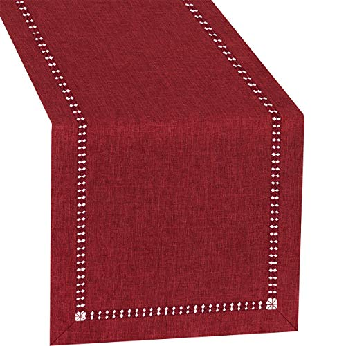 Grelucgo Large Handmade Hemstitched Polyester Rectangle Table Runners Cranberry 14x108 inch