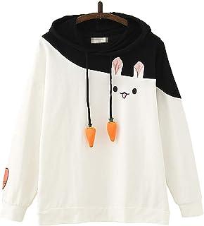 TieNew Kawaii Lolita Girls Bunny Rabbit Funny Design Duo Color Asymmetrical Pattern Long Sleeves Hoodie,ElegantLong Sleeve...