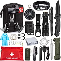 Exclusive 47 PCS Survival Kit - Uniquely customized by U.S military veterans, our survival kit includes 28pcs emergency survival gears, 16pcs medical supplies, 10pcs fishing tools and 4 in 1 Molle EMT pouch to suit all your needs. Includes folding kn...