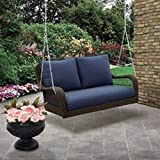 Colebrook Outdoor Porch Swing-Brown with Blue Cushions