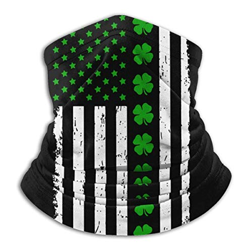 shenguang St. Patrick's Day Big Irish American Flag Unisex Microfiber Neck Warmer Headwear Face Scarf Mask For Winter Cold Weather Mask Bandana Balaclava