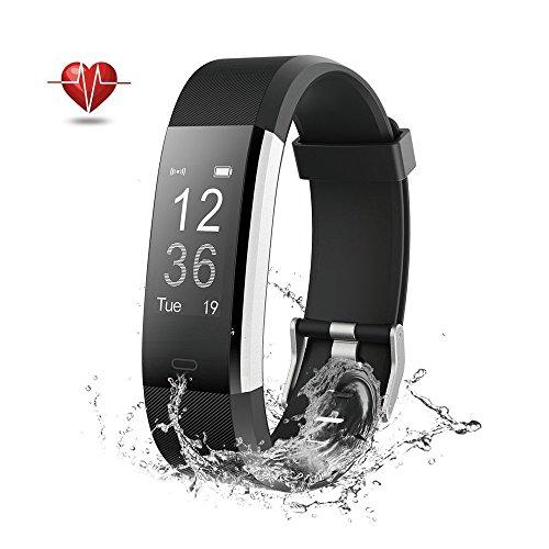 Wisenovo Fitness Tracker IP67 Wasserdicht Smart Watch Bluetooth Armband Uhr mit Schlafmonitor Kalorienzähler SMS-Schwarz