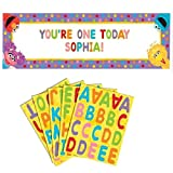 amscan Fun Sesame Street 1st Birthday Personalized Giant Party Sign Banner, 65' x 20', Multicolor