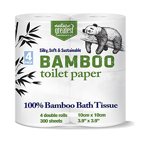 Natures Greatest, 100% Bamboo & Sugarcane Toilet Paper, 2 Ply, 300 Sheets, 4 Rolls, Packaging May Vary