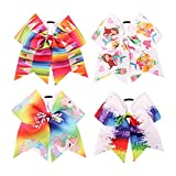 7'' Large Unicorn Cheer Bows Girls Hair Bows With Elastic Band For Teen Girls (Multicolor-H04)