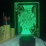 Lámpara 3D Led Lámpara De Mesa De Cabecera Jugando A Las Cartas 7 Colores Control Remoto Toque Juguetes Decoración Navidad Regalo De Cumpleaños