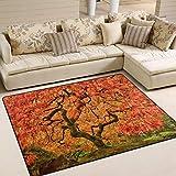 Use7 Teppich, japanischer Ahornbaum, Herbstlandschaft, Naturteppich für Wohnzimmer Schlafzimmer, Textil, Multi, 160cm x 122cm(5.3 x 4 feet)