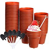 50 Pieces Flowerpot Cake Cups Flower Pot Plastic Baking Cups Household Flowerpot DIY Cake Cups with 50 Pieces Disposable Plastic Shovel Dessert Spoon for DIY Baking, Cupcakes, Yogurt, Mousse, Jelly