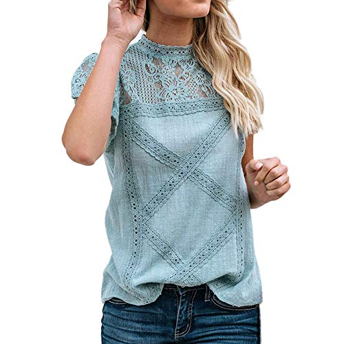 Camisetas Mujer SHOBDW Dia de la Mujer Verano Patchwork De Encaje Casual Ahuecar Volantes Manga Corta Suéter De Cuello De Tortuga Linda Blusa Floral Camiseta Blanca para Mujer (M, Azul)