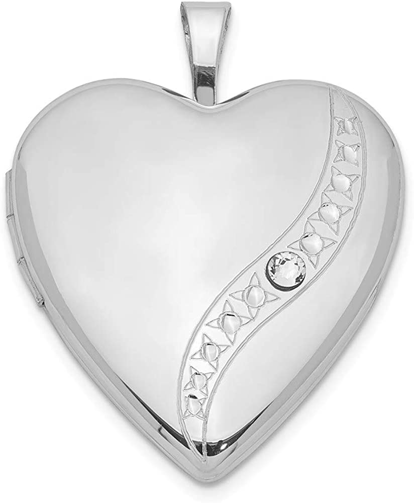 925 Limited price sale Sterling Selling and selling Silver Crystal Heart Locket Pendant Cha Photo Charm