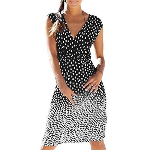 Reooly Moda Summer Dot Gradient Print sin Mangas con Cuello en V Casual Mini Vestido Beach Holiday Beach Falda