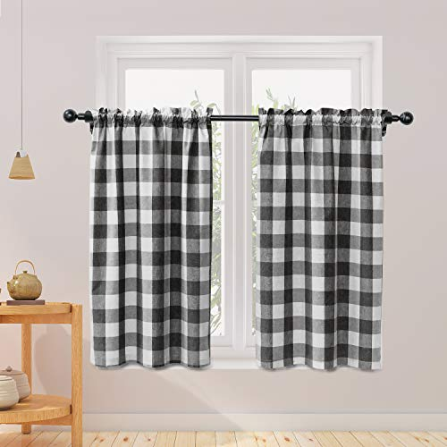 NATUS WEAVER Buffalo Check Kitchen Tier Curtais 36 inches Long Plaid Gingham Rod Pocket Classic Cafe Curtains Country Farmhouse Kitchen Short Curtains 2 Panels Black & White