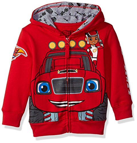 Nickelodeon Boys' Toddler Monster Machines Lets Blaze Hoodie, Red, 3T