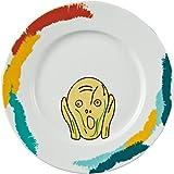 サンアート おもしろ食器 「 偉人フェイスディッシュ 」 ムンクの叫び 中皿 直径23.6cm ホワイト SAN2767-1