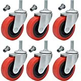 6 Pack Creeper Wheels 2.5 Inch Heavy Duty Swivel Caster Wheel Creeper Service Cart Stool Post Mount, M10 (Around 3/8') x 1' Metric Threaded Stem Casters Wheels Replacement