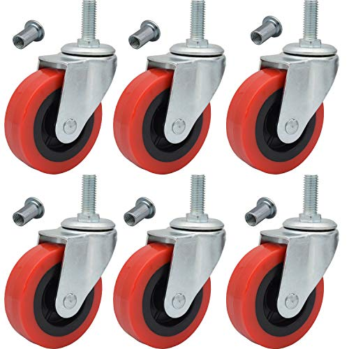 "6 Pack Creeper Wheels 2.5 Inch Heavy Duty Swivel Caster Wheel Creeper Service Cart Stool Post Mount, M10 (Around 3/8"") x 1"" Metric Threaded Stem Casters Wheels Replacement"