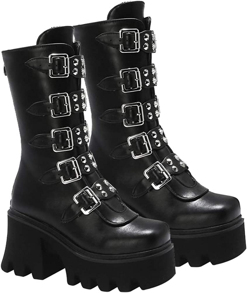 Generic Women Punk Buckle Boot Gothic Mid- calf Motorcycle Boot Chunky Low Heel Buckle Boots Rock Wedge Platform Boots PU Leather Mid- Calf Boot (38)