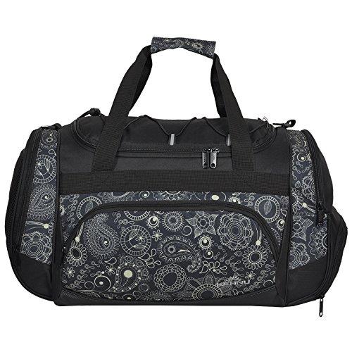 KEANU Durchdachte Sporttasche (50 x 29 x 28 cm - 45 Liter Fitness Yoga Sauna mit XL Getränkenetz :: Grosse multifunktionale Tasche für Gym Sport Sauna Reise Wellness :: Reisetasche (Cream Paisley)