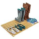 mDesign große Schmutzfangmatte – praktischer Badteppich aus Bambus – umweltfreundliche Fußmatte für Bad, Flur und Garage – bambusfarben