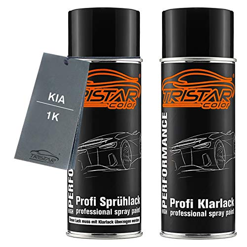 TRISTARcolor Autolack Spraydosen Set für KIA 1K Zilinaschwarz Metallic Basislack Klarlack Sprühdose 400ml
