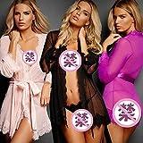 Gdofkh Albornoz Sexy de Mujeres Europeas y Americanas, lencería Sexy, Correas de Archivo Abierto, Linda tentación Peluda Sexy Falda Larga