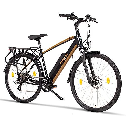 Fitifito CT28M, 28 Zoll Elektrofahrrad Citybike E-Bike Pedelec, 48V 250W Heckmotor, 499/624Wh Akku, hydraulische Bremsen, Gabelfederung, 8 Gang Shimano Schaltung, Buchel LED Frontlicht Gepäckträger