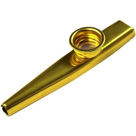 Golden Kazoo Instrument en alliage d'aluminium Cazoo Pack unique avec 3 membranes pour accompagnement instrumental de fête