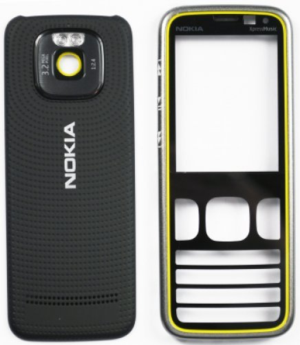 Guscio per Nokia 5630 BlackYellow (Front+B.C+Lens) (Original)