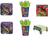 Lote de Cubiertos Infantiles Desechables'Tortugas Ninja ' (16 Vasos,16 Platos,20 Servilletas y 1 Mantel) .Vajillas y Complementos. Juguetes y Regalos de Cumpleaños, Bodas, Bautizos y Comuniones.