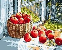 油絵 数字キットによる デジタル インテリア キャンバスの油絵子供 ホーム オフィス装飾 40x50センチ-窓辺のリンゴ_額装