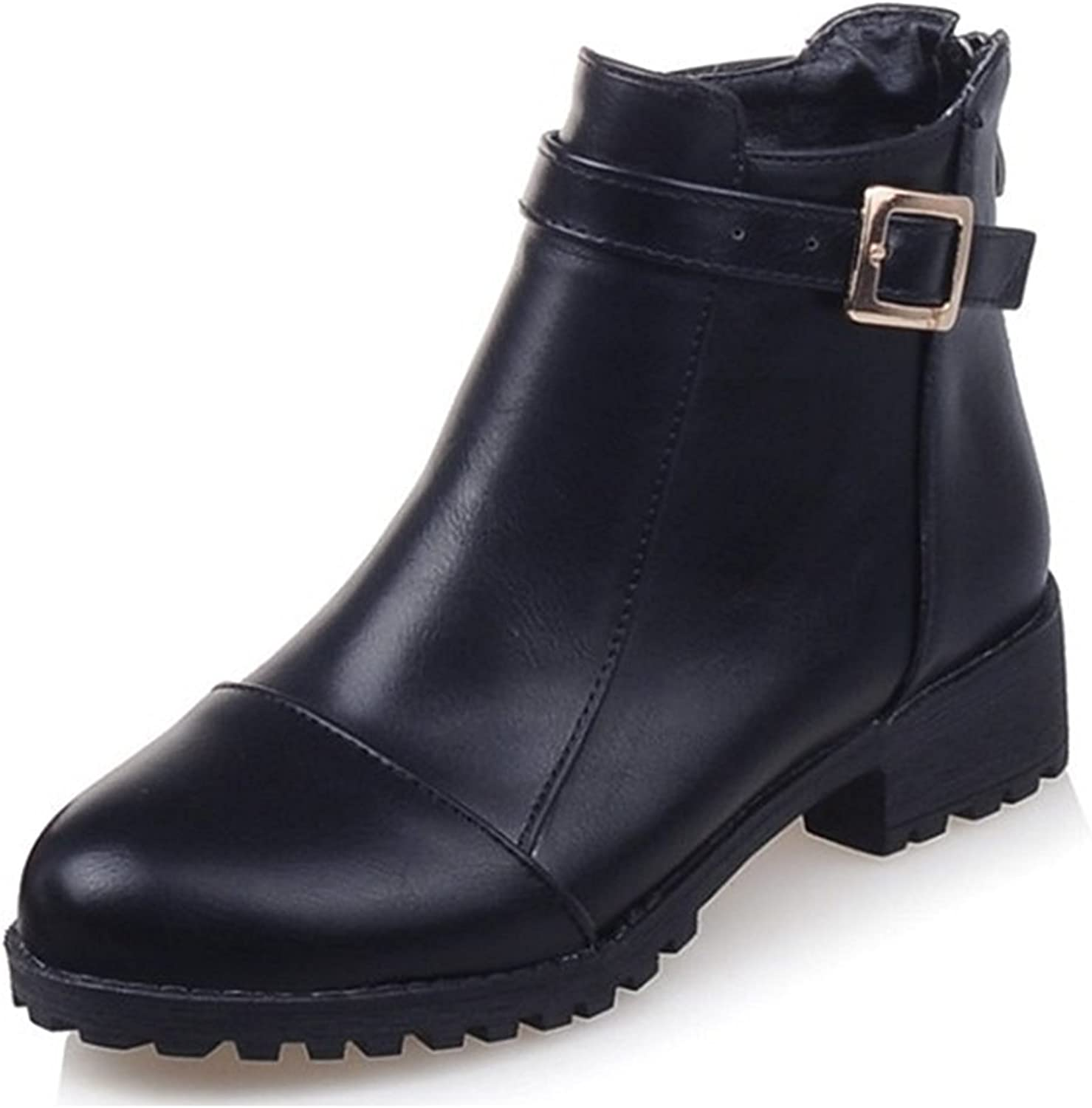 Sothingoodly Nice Women's Trendy Buckled Strap Round Toe Back Zipper Block Low Heel Ankle Boots