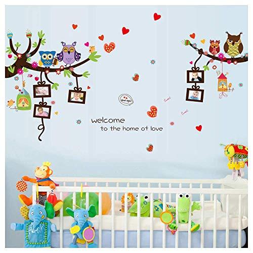 Muurtattoo verliefde uilen op takken met fotolijsten - muurschildering: 151x80 cm - kinderkamer wandsticker uil op tak in PVC