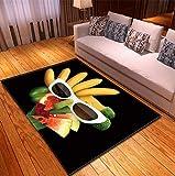 Alfombra De Área, Tapete para La Mesa De Centro De La Sala De Estar, Poliéster Suave con Patrón De Frutas En 3D, Alfombra Antideslizante para El Pasillo del Dormitorio 120X170Cm