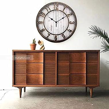 Ouyun Farmhouse/Vintage Wall Clock, Retro Style,Silent Non-Ticking,Raised 3D Arabic Numeral, Decor for Living Room/Bathroom/K