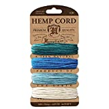 Hemptique Hemp Cord 4 Color Cards - Made with Love - Crafter's No. 1 Choice – Eco Friendly – Plant Hanger - Scrapbooking – Gardening – Macramé – Home Décor (Aqua Pack)