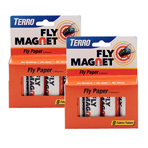 TERRO T518SR Magnet Sticky Fly Paper 16 Total Traps, 2 Pack, Brown