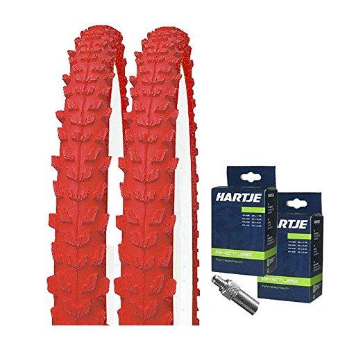 KENDA Set: 2 x K829 ROT farbige Fahrrad MTB Reifen 26x1.95 + SCHLÄUCHE Dunlopventil