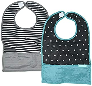 Nylon Travel Drool Bib, Folds Up for Easy Clean-up, Clips to Stroller or Diaper Bag, Waterproof and Catches All The Mess with Bottom Pocket, by Bazzle Baby (Stars & Stripes)