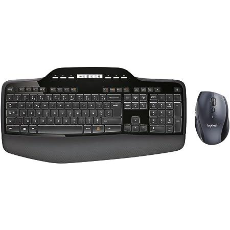 Logitech MK710 Combo Teclado y Ratón Inalámbrico para Windows, Disposición AZERTY Francés, Negro