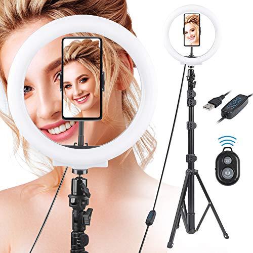 Rhodesy LED Ringleuchte 10 Zoll mit Stativ und Telefonhalter, Dimmbares Selfie Ring Light mit 3 Lichtmodi und 10 Helligkeitsstufen für Live-Streaming/Make-up/Fotografie/TikTok YouTube-Video