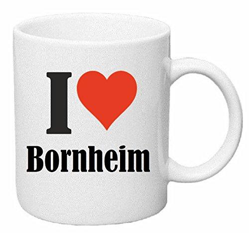 Reifen-Markt Kaffeetasse I Love Bornheim Keramik Höhe 9,5cm ? 8cm in Weiß