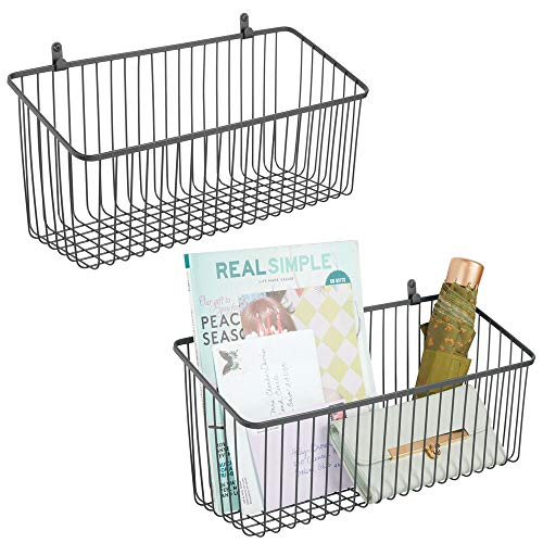 mDesign Portable Metal Farmhouse Wall Decor Angled Storage Organizer Basket Bin for Hanging in Kitchen/Pantry - Store Plastic Bags, Foils, Oils, Sandwich Bags - 2 Pack - Graphite Gray