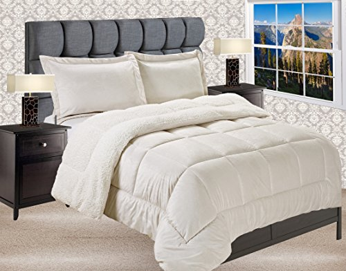 Elegant Comfort Premium Quality Heavy Weight Micromink Sherpa-Backing Reversible Down Alternative Micro-Suede 3-Piece Comforter Set, King, Ivory