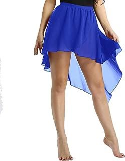 Womens Adult Asymmetrical High-Low Dance Dress Chiffon Lyrical Ballet Wrap Skirt