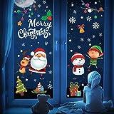 UMIPUBO Pegatinas de Navidad para ventana, decoración de Navidad, Papá Noel, alce, muñeco de nieve, adhesivo electrostático, extraíble para ventana, decoración de Navidad