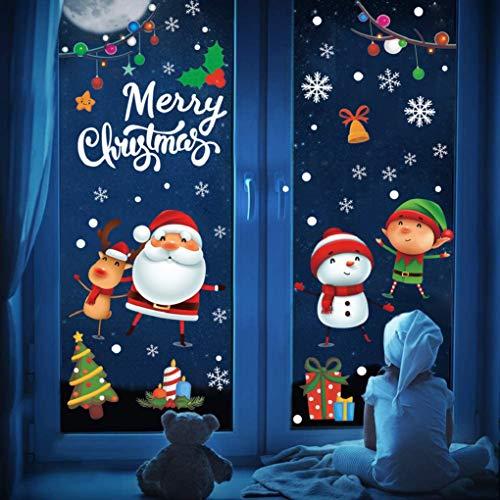 UMIPUBO Weihnachten Aufkleber Fenster Deko Schneeflocken Weihnachtsmann Elch Schneemann Weihnachtskind Fensteraufkleber Fensterbild Entfernbarer Elektrostatischer Weihnachtssticker Fensterdeko