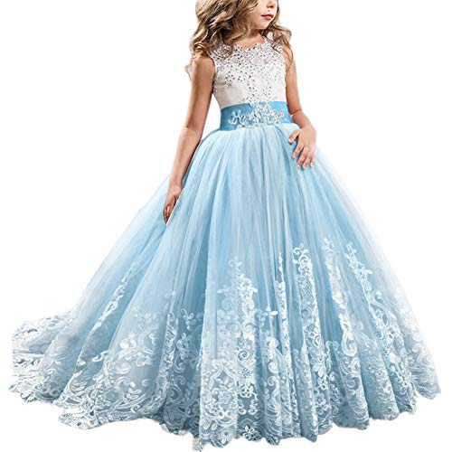 Christmas Fancy Lilac Flower Girl Dress Princess Lilac Long Wedding Pageant Dress Floor Length First Communion Dress Kids Trailing Prom Puffy Long Sleeves Tulle White Ivory Dance Evening Ball Gown