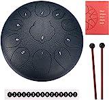 Topnaca Zungentrommel 11 Tone 12 Zoll, Steel Tongue Drum Hand Pan Schlagzeug Instrument mit Trommelschlägeln Note Sticks Musikbuch Für Meditation Yoga Musiktherapie Camping