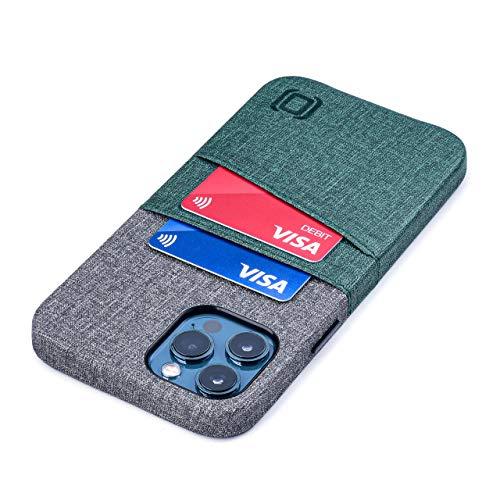 Dockem Luxe M2 Funda Cartera para iPhone 12 Pro MAX: Funda Tarjetero Slim con Placa de Metal Integrada para Soporte Magnético: [Verde y Gris]